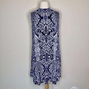 Tiana B Blue & White Print Shift Dress